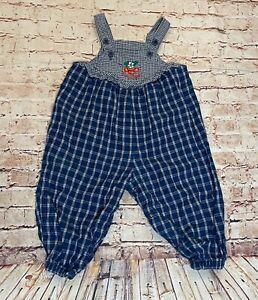 Oshkosh Baby Bgosh Blue Plaid Overalls Cherry Accents Toddler One Piece sz 18M