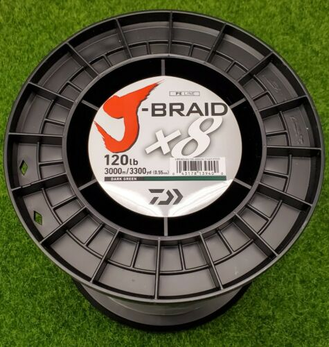 3300yd Daiwa J-Braid x8 Braided Line DARK GREEN 120lb JB8U120-3000DG