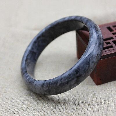 Chinese Beautiful Genuine Natural Black Jade Gems Bangle Bracelet 62mm