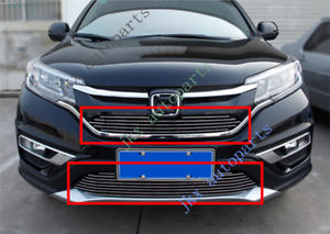 Mesh Front Bumper Upper+Lower Middle Grille Grill Trim For Honda CRV 2015-16