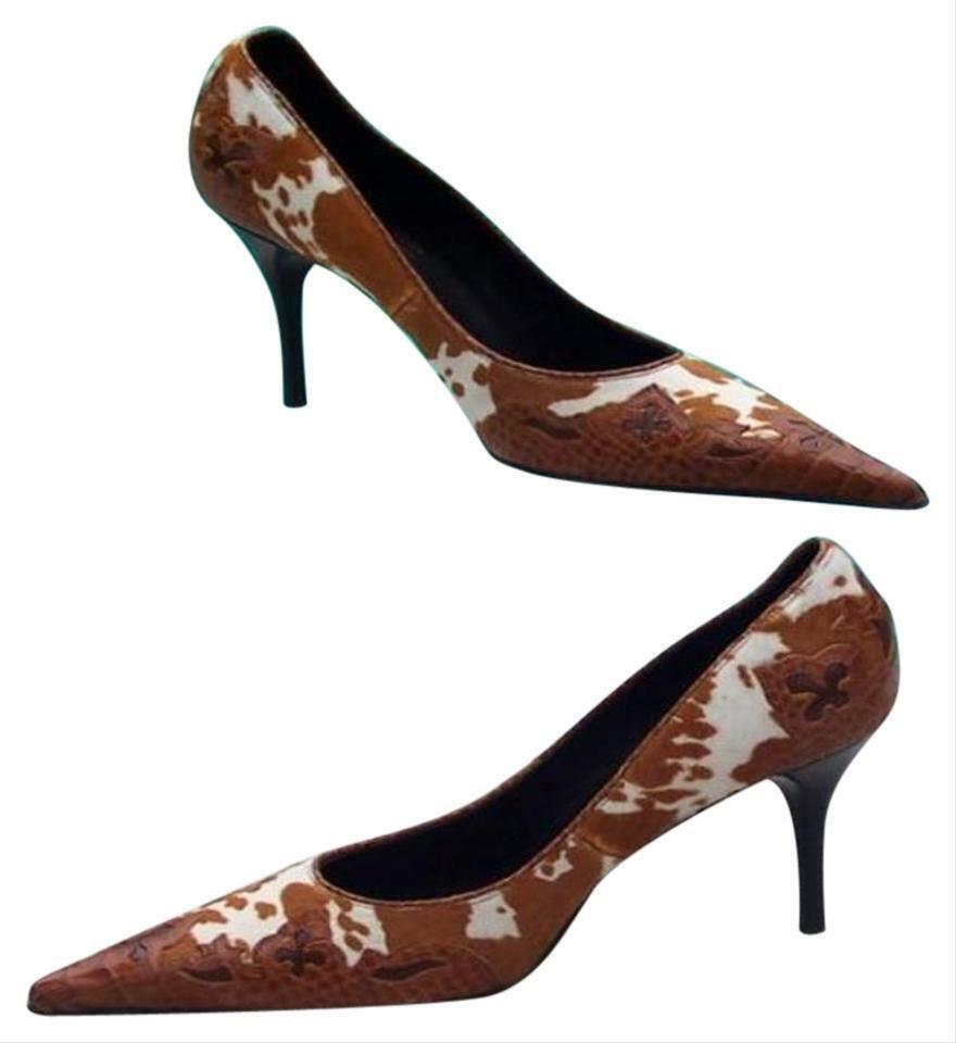 Donald Pliner Couture Hair Calf Leather Pump chaussures New Western Croc  450 NIB