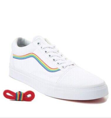 Details about ***NEW***Exclusive Vans Old Skool Rainbow Skate Shoe White MENS Pride Sz 12