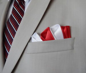 Mens Pocket Squares Handkerchief Party Wear Silk Capri Collection Red/White  | eBay
