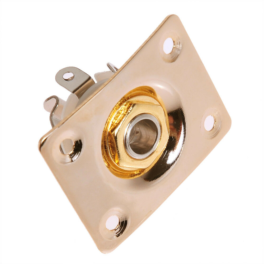 gold plated square guitar jack plate with output input jackelectric guitar parts 634458294638 ebay. Black Bedroom Furniture Sets. Home Design Ideas