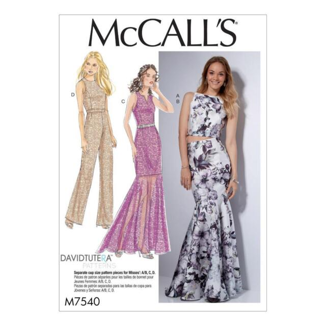 McCalls Pattern M7540 David Tutera Skirt Top Jumpsuit Wedding Prom ...