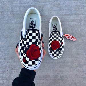 Checkerboard Slip on Black and White Red Rose Embroidery Vans Custom ... 13f5b615a