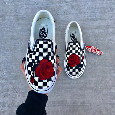 Checkerboard Slip on Black and White Red Rose Embroidery Vans Custom  Trainers | eBay