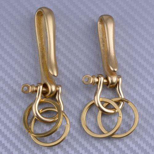 Solid Brass Keychain Keyring Belt U Hook Vintage Fob Clip Wallet Chain Fish Hook