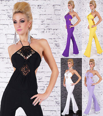 Sexy Women's Halter Neck Jumpsuit Overall with sexy open back one size 8-10-12