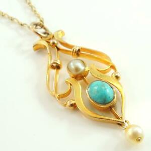 9ct-Gold-Vintage-Antique-Turquoise-amp-Pearl-Pendant-With-9ct-Gold-Chain