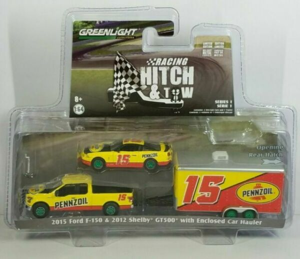2015 Ford F-150 and 2012 Shelby GT500 Pennzoil with Enclosed Car Hauler Racing Hitch /& Tow Series 1 1//64 Diecast Models by Greenlight 31050 C