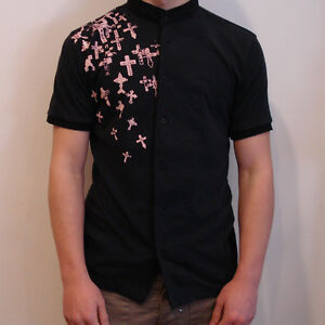 RELIGION-Button-through-T-Shirt-with-Grandad-Collar-in-Washed-Black-Now-22
