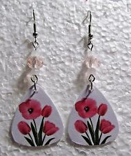 Pink Tulip Flowers Guitar Pick Alloy Hook Dangle Earrings