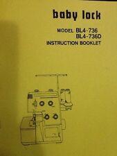 Baby Lock Serger BL4-736/736D Manual Instruction Booklet
