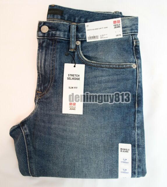 1ae3bffd NWT Uniqlo Selvedge 30x34 Slim Straight Fit Light Blue Men's Denim Jeans