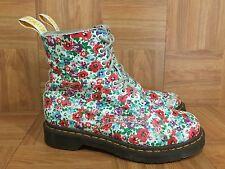 RARE!�� Dr Marten's Pascal Boots White Floral Print Leather Women's Sz 8 US 6 UK