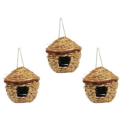 2pcs Bird Nest Breeding Bird Box Wild Grass Weave Canary Finch Budgie House