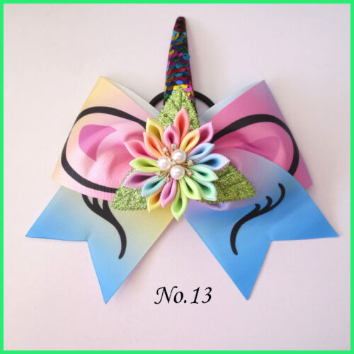 "200 BLESSING Girl 8/"" Cheer Leader Bow Latest Unicorn Hair Elastic Rainbow Flower"
