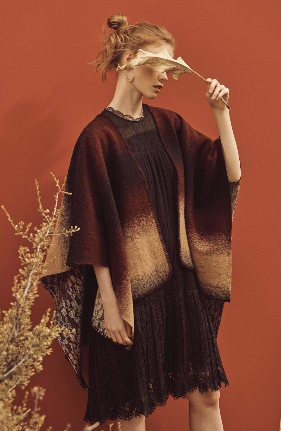 NWT Anthropologiskt vin bspringaa Boil Wool Ombre Lace Print Reversible Poncho O  S