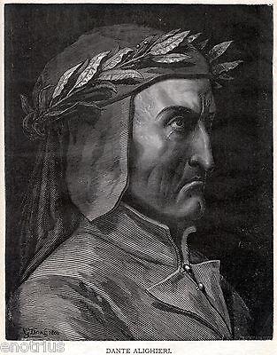 Dante Alighieri. Gustave Doré.Divina Commedia. Stampa Antica + Passepartout.1880