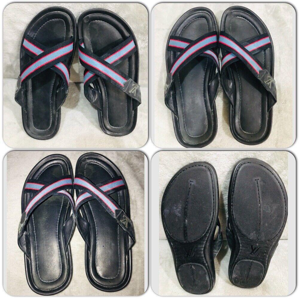 Louis Vuitton leather Canvas Men's Sandals Size 7 - image 3