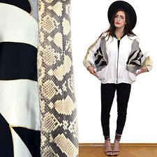 Vtg REAL SNAKE Skin Leather Batwing Jacket Patchwork Avantgarde Silk Trophy Cape