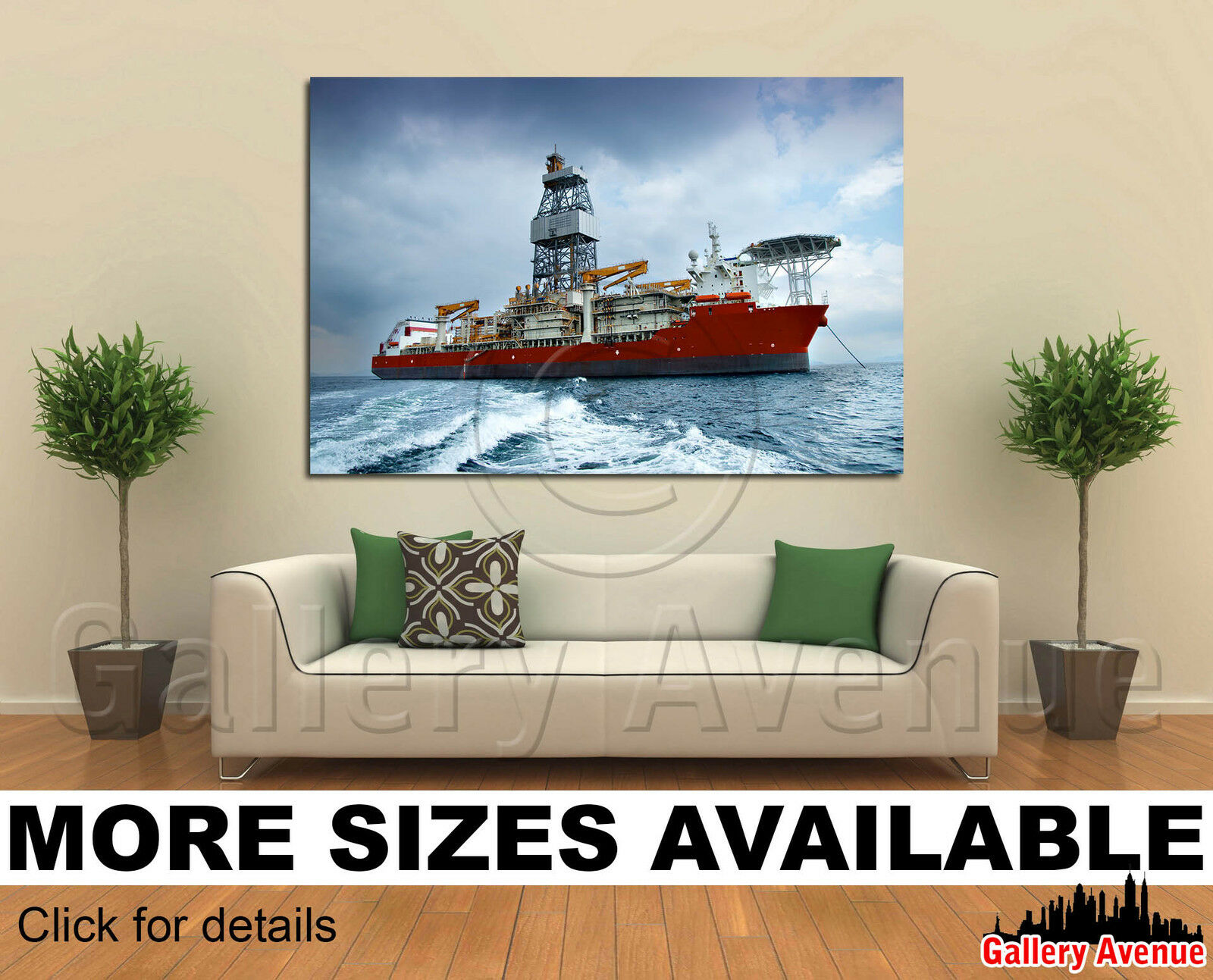 wand kunst Canvas Picture drucken - A deep sea drill ship in anchorage 2 3.2