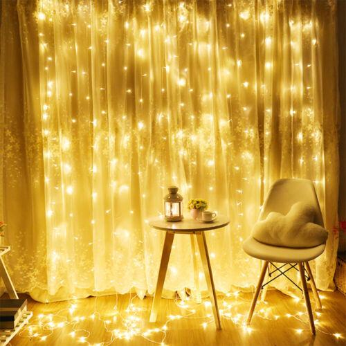 LED Lichtervorhang Lichterketten Lichternetz 3x3m 6x3m Party Innen außen Deko