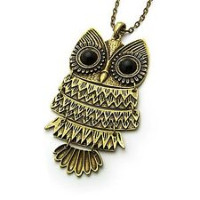 RF1 Vintage BRONZE Owl Pendent Necklace Long Sweter Chain