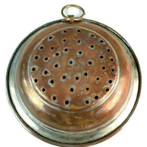 Antique-Copper-Colander-Primitive-Sieve-Vintage-Strainer