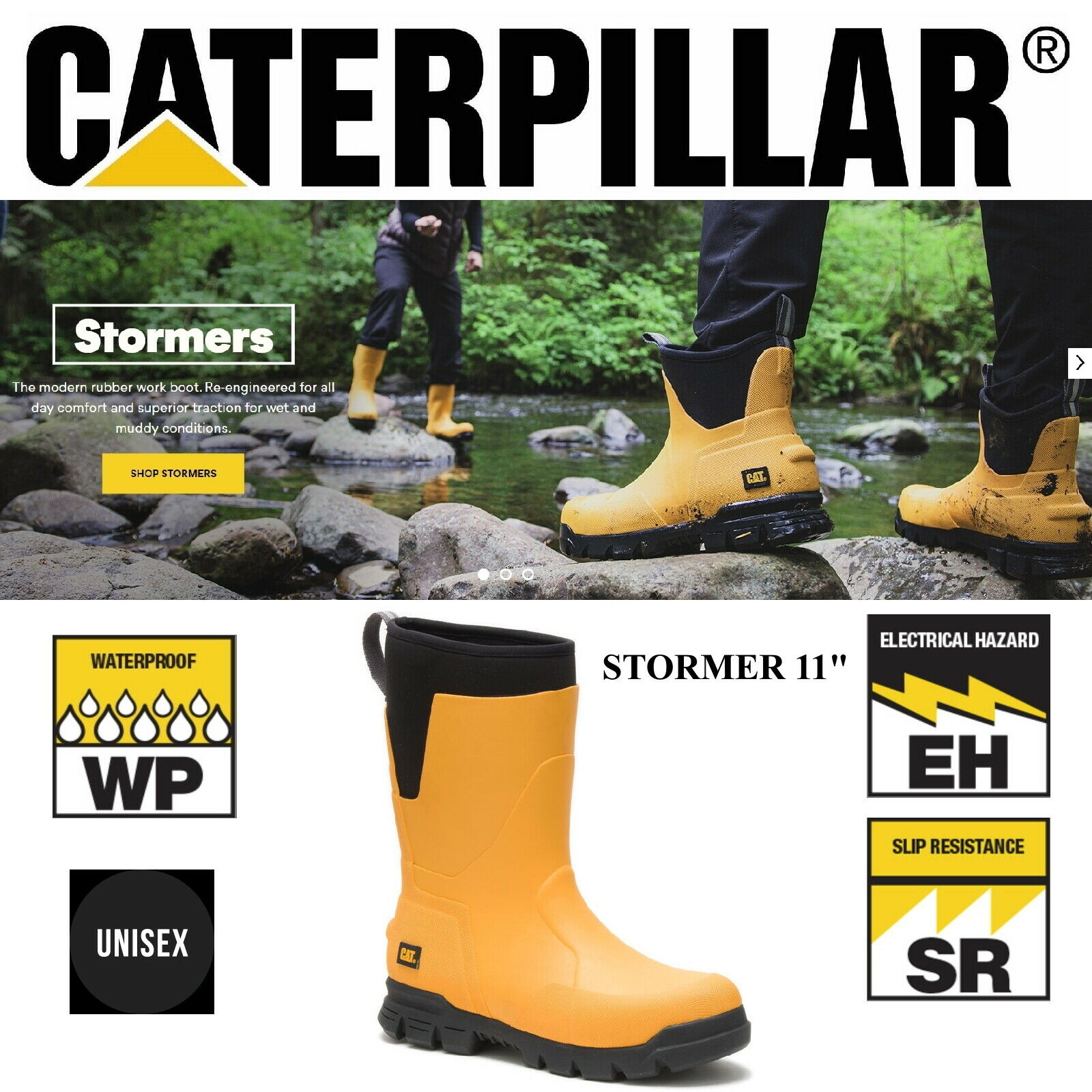 Caterpillar Casual 11  Stormers Unisex Stiefel Waterproof P724051 Gelb-NEW STYLE