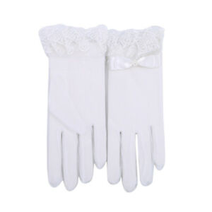 White-Mesh-Lace-Bow-Bridal-Wedding-Soft-Tulle-Finger-Organza-Short-Gloves