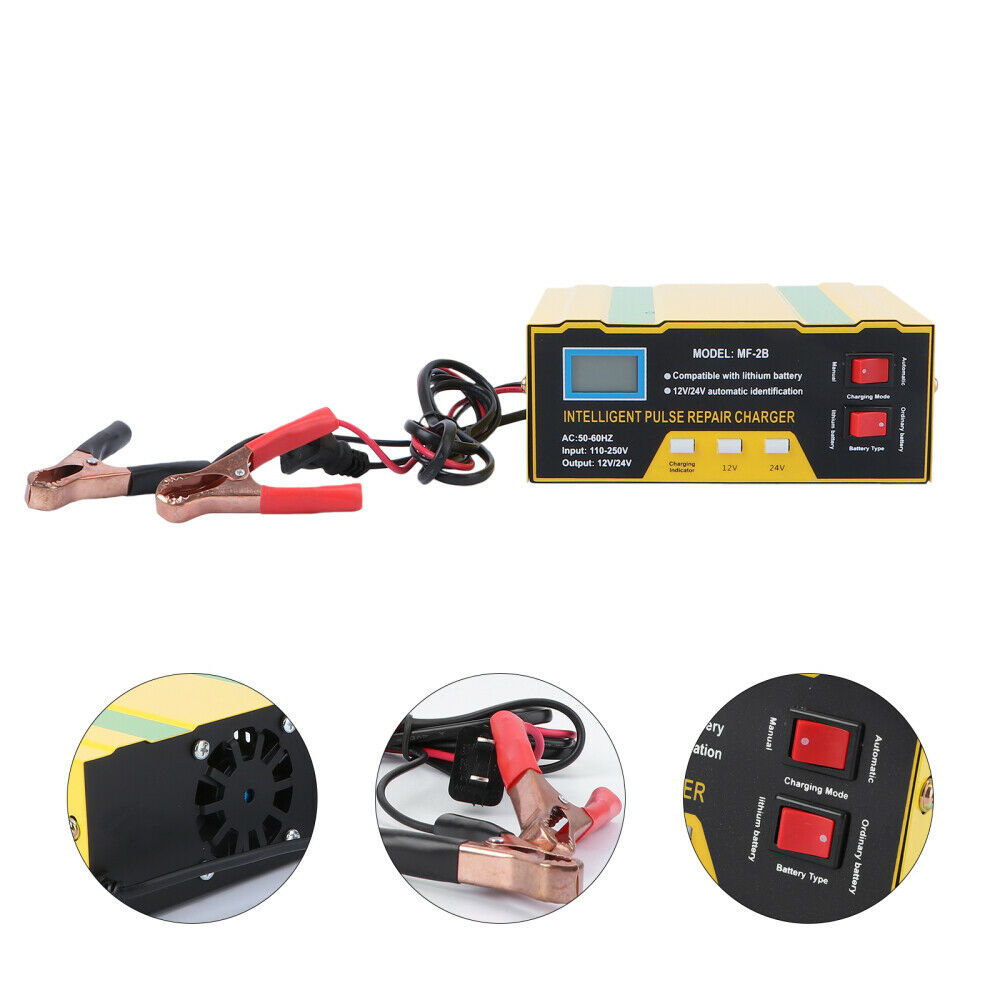 12V Car Auto Motorcycle Battery Charger Full Automatic Repair Lead-acid US Plug