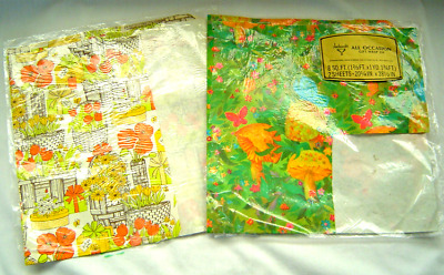 VINTAGE 60's Mice Mouse Mushroom Floral GIFT WRAPPING PAPER Ephemera Gift Wrap