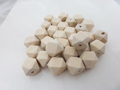 20 x Small Geometric Faceted Wooden Beads 12mm Natural, Craft Supplies    (OB21)