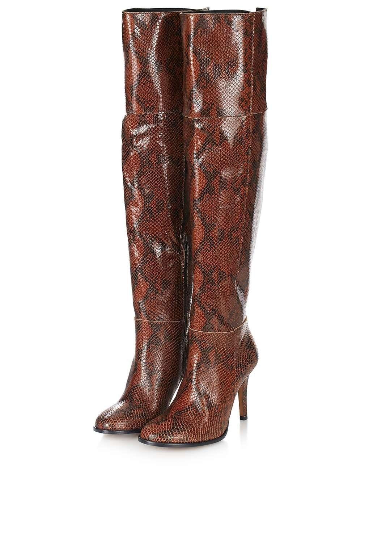 Topshop Damenschuhe Braun Leder Stiefel Snake Over The Knee Stiefel Leder UK3 EUR36 US5.5 40fc3a