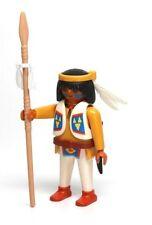 Playmobil Figure Western Indian Warrior w/ Spear Knife Headband Feathers 3870