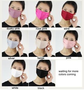 100 Silk Knitted Double Layer Mouth Face Mask Respirator Anti Dust Haze Ebay
