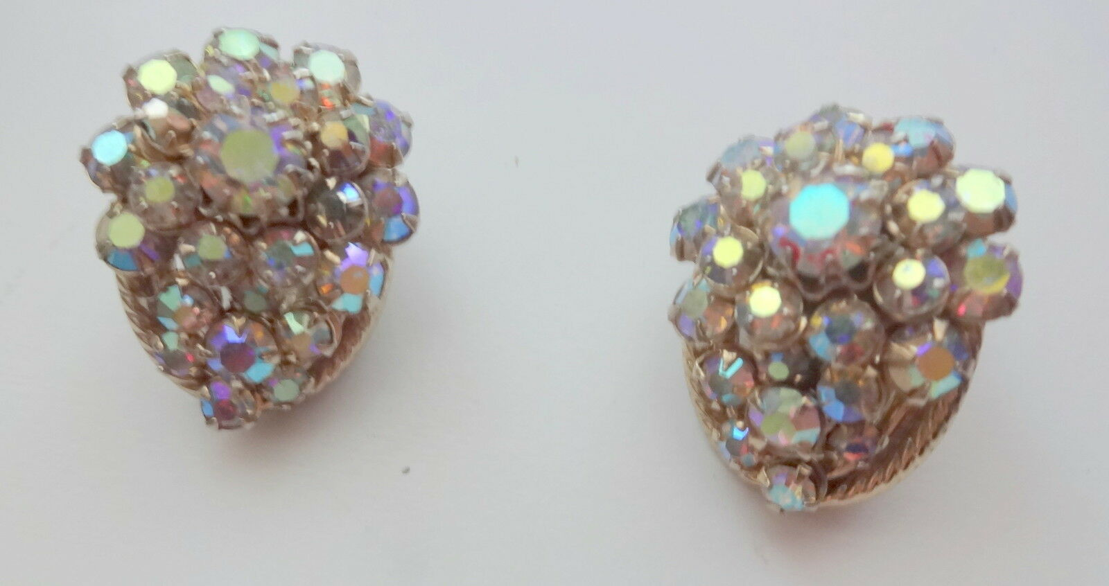 Vtg Designer Aurora Borealis Rhinestone Cluster Clip On Earrings