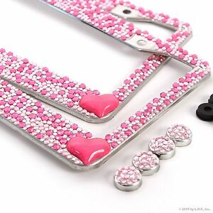 image is loading 2 heart pink bling crystal rhinestone license plate