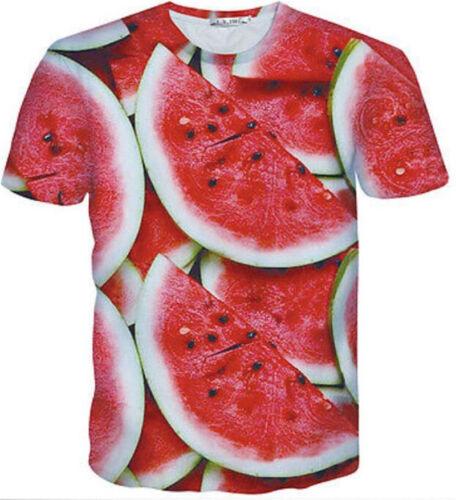 New Men Women Red Watermelon Fruit Print 3D T-Shirt  Casual Short Sleeve Tee Top