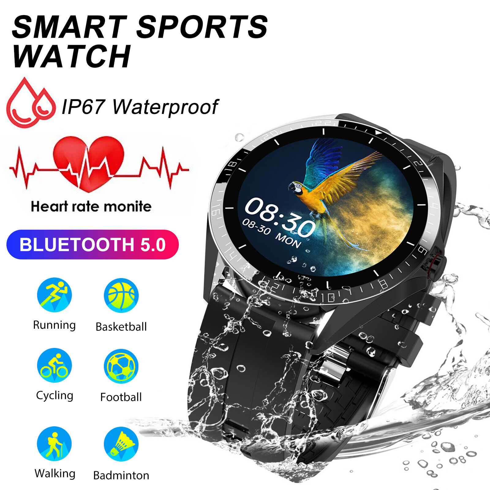 Bluetooth IP67 Smart Watch Fitness Tracker Heart Rate Monitor For iPhone Samsung