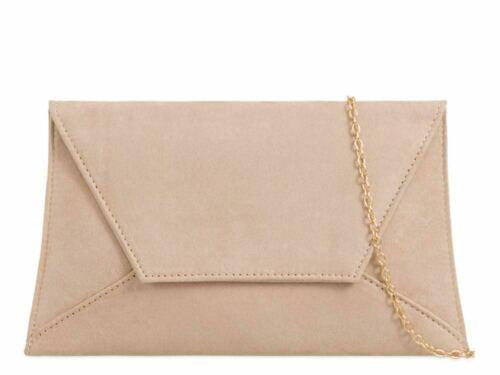 Women/'s Plain Suede Wedding Ladies Party Prom Evening Clutch Purse Hand Bag UK