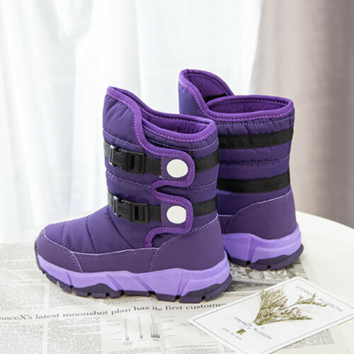 Kids Snow Boots Winter Warm Lined Boots Comfy Waterproof Anti-slip Outdoor Shoes