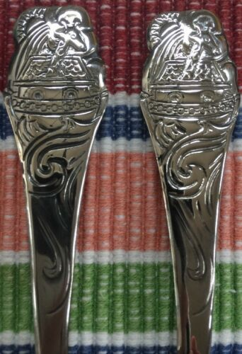 "Oneida Noah's Ark Baby Set Spoon /& Fork 4.5/"" Community Stainless Silverware New!"