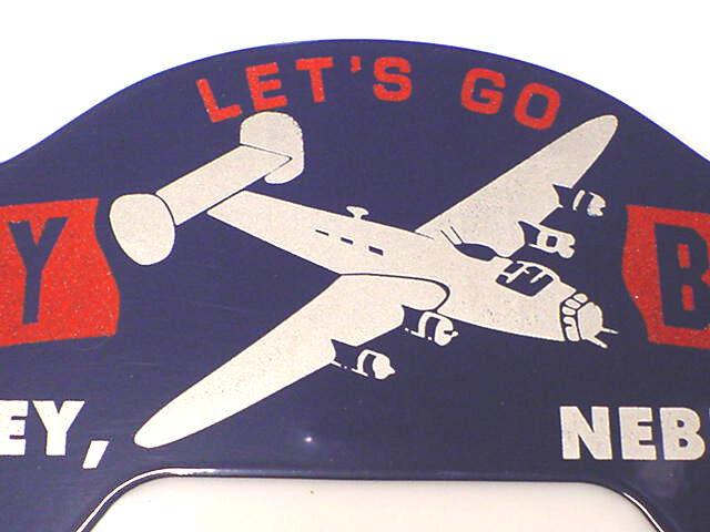 War Time License Plate Topper 1940s B-24 Liberator Bartley Bombers Nebraska