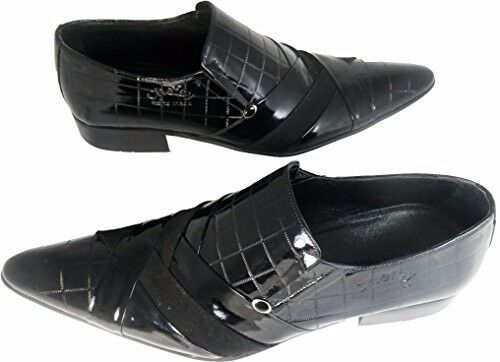 Chelsy-Designer Italiano Slipper motivo a quadri quadri a fibbia nero in pelle vitello 6fbdc8