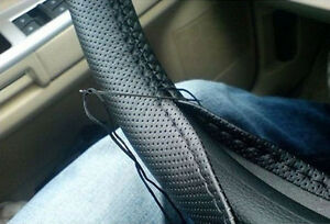 US-Car-Truck-PU-Leather-Steering-Wheel-Cover-With-Needles-and-Black-Thread-DIY