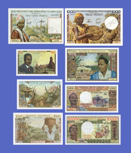 CAMEROUN 100...10000 Francs Lots of 8 notes Reproductions