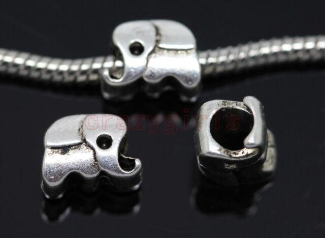 40/200pcs Tibet Silver big hole elephant beads Fit Charm Bracelet (Lead Free)
